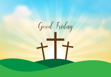 Good Friday. Background with white cross and sun rays in the sky Stock Photos
