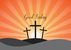 Good Friday. Background with white cross and sun rays in the sky Stock Photography