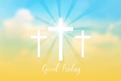 Good Friday. Background with white cross and sun rays in the sky Royalty Free Stock Photos