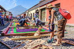 Good Friday carpets & volcano, Antigua, Guatemala Stock Images