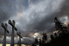 Good Friday Easter Crosses Clouds Trees Background Stock Photography