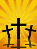 Good Friday Easter Day Crosses Sun Rays Background Stock Photo