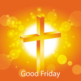 Good friday greeting card. Jesus cross on abstract sun background Stock Photography