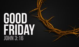 Good Friday John 3:16 Gold Crown of Thorns 3D Rendering. Digital Art Royalty Free Stock Photos
