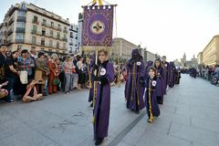 Good Friday procession, Spain. Zaragoza, Spain - April 18: Unidentified people in the Good Friday procession April 18, 2014 in the Zaragoza Saragossa community Stock Photos