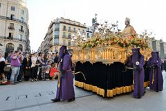Good Friday procession, Spain. Zaragoza, Spain - April 18: Unidentified people in the Good Friday procession April 18, 2014 in the Zaragoza Saragossa community Royalty Free Stock Images