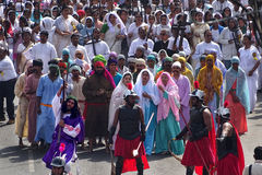 Good friday 2015. In a small town (Jabalpur) in India a procession took place which sent out a strong message to all, of the suffering endured by our Lord with Royalty Free Stock Photography