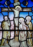 Good Friday in stained glass (Jesus Christ crucified) Stock Photos