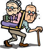 Good friend elderly couple to the hiking Royalty Free Stock Images