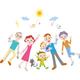 Good friend three generation family. The good friend three generation family goes out vector illustration