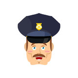 Good friendly cop. happy Policeman. Funny Face Constable. merry Stock Photo