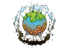 Good and future of planet earth. Concept of different types of energy production methods. Planet earth green future with good energy and polluted one with bad Royalty Free Stock Image