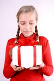 Good girl and gift Royalty Free Stock Photo