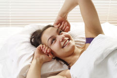 Good girl wakes up in the morning Stock Images