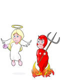 Good Girls love Bad Boys. Young angel smitten with young devil stock illustration