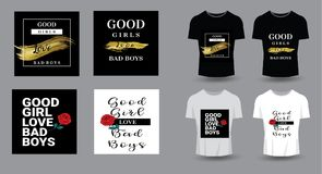 Good girls love bad boys typography for t-shirt print, product,. Brochure, cover, poster, patch, fabric, rock style, vintage . vector illustration Stock Photo