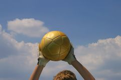 Good goalie. Stopped Ball Royalty Free Stock Image