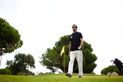Good golf game at sunny summer day on the course Stock Image