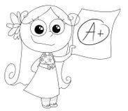 Good grade A+ vector. A cute girl showing her good grade A. Coloring vector Illustration Stock Photo