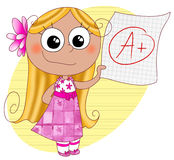 Good grade A. A happy cute girl showing her good grade A. Digital illustration Royalty Free Stock Photography