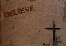 Background with Cross and Believe Stock Photo