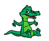 Good Green crocodile cartoon illustration Royalty Free Stock Photos