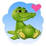 Good green crocodile. With heart Stock Images