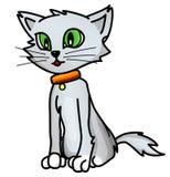 Good grey cartoon cat Stock Photos