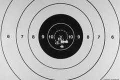 Good grouping. Nice tight grouping of five shots on a paper target Stock Images