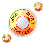 Good> Better> il migliore emblema Immagini Stock