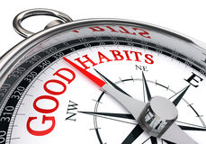 Good habits red message on conceptual compass Stock Photo