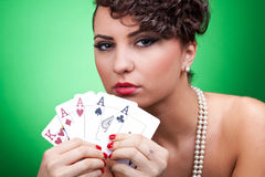 Good hand in poker - four aces royalty free stock photography