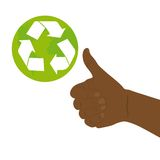 Good hand with recycle sign. Good hand white, recycle sign over white background. vector Royalty Free Stock Image