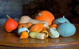 A good harvest on my garden. A few squashes, pattypanes, melones and courgettes on the old cherry desk with dark background Stock Photo
