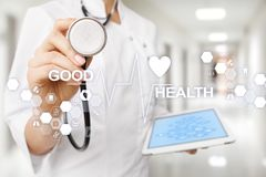 Good health check. Medical doctor using modern virtual screen computer. Good health check. Medical doctor using modern virtual screen computer stock photography