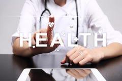 Good health check. Medical doctor using modern virtual screen computer.