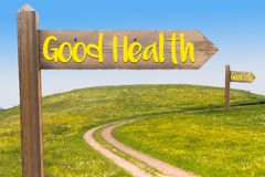 Good Health Concept. Two Signposts with the Words Good Health and Good Life under Blue Sky and in Front of Summer Meadow royalty free stock images