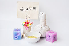 Good health. By natural product on white background concept royalty free stock image