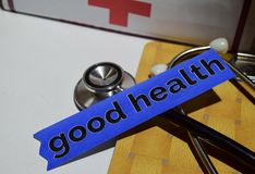 Good health on the print paper with medical and Healthcare Concept royalty free stock photo