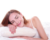 Good and health sleep. Sleep Girl woman on bed in the morning, caucasian beauty Stock Photo