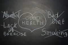 good health tips on a black board. A concept for doctors stock images