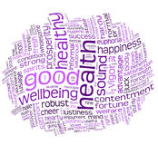 Good health and wellbeing tag cloud. Good health and wellbeing tag or word cloud Royalty Free Stock Photography