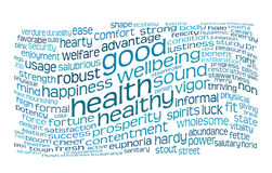 Good health and wellbeing tag cloud. Good health and wellbeing tag or word cloud Stock Images
