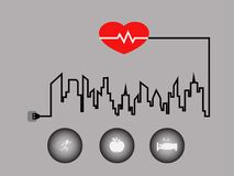 Good healthcare for people in the city. Good healthcare symbol for downtown people in the big city Royalty Free Stock Images