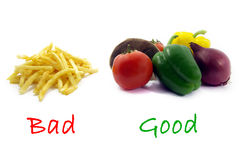Good healthy food, bad unhealthy food colors 2. Illustration of a comparison between healthy food and unhealthy food Stock Image