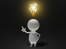 Good Idea. Illustration of a man invents a new idea or creates a new thought Royalty Free Stock Photo