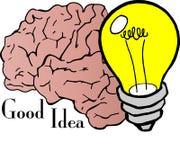Good Idea. Vector illustration of a brain and a light bulb indicating a brilliant idea Stock Photos