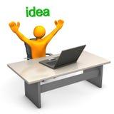Good Idea. Orange cartoon character with laptop has a good idea Stock Photography