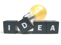 Good idea. A lightbulb behind the word idea Royalty Free Stock Images