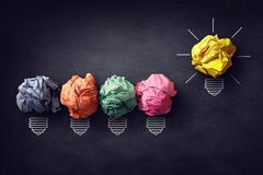 Good idea concept. Crumpled paper ball lightbulb on blackboard royalty free stock images